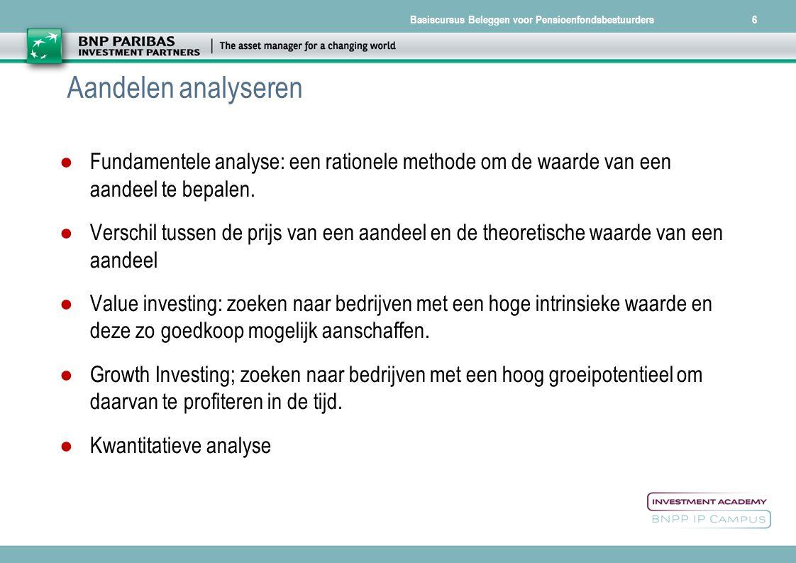Basiscursus Beleggen voor Pensioenfondsbestuurders27  12/07/2014   Waarom beleggen in vastgoed.