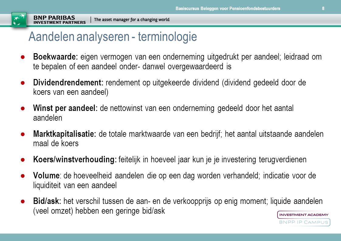 Basiscursus Beleggen voor Pensioenfondsbestuurders Van terminologie naar concrete invulling...