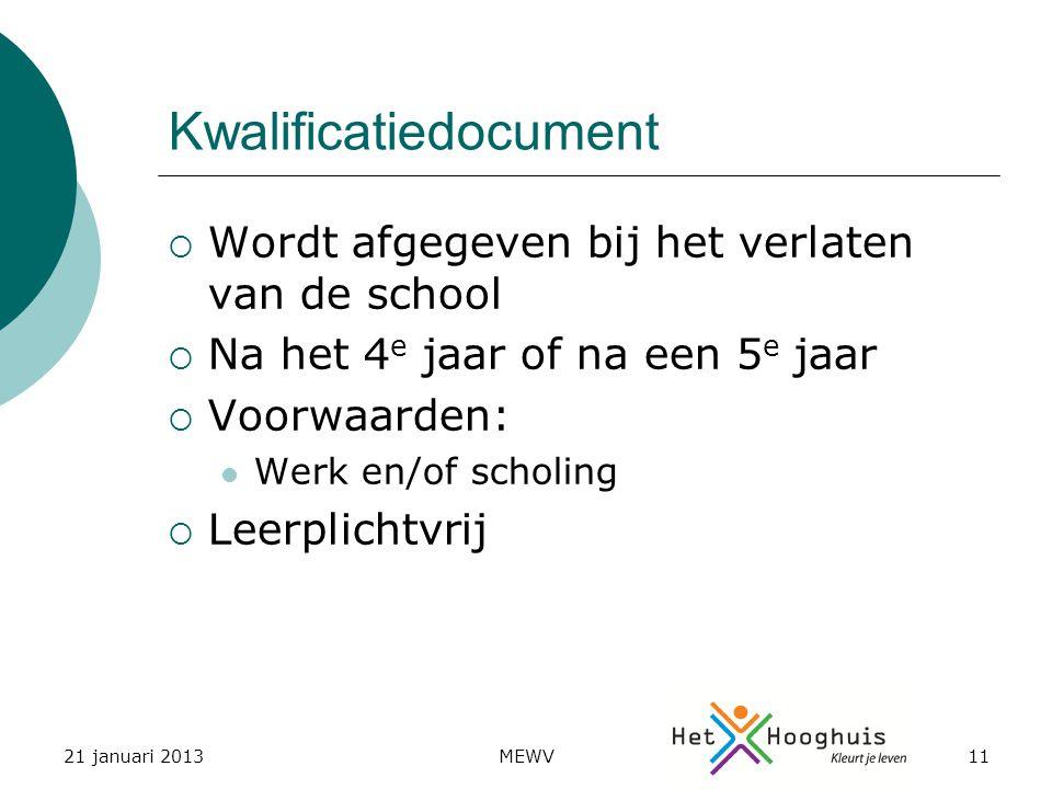 21 januari 2013MEWV11 Kwalificatiedocument  Wordt afgegeven bij het verlaten van de school  Na het 4 e jaar of na een 5 e jaar  Voorwaarden: Werk en/of scholing  Leerplichtvrij