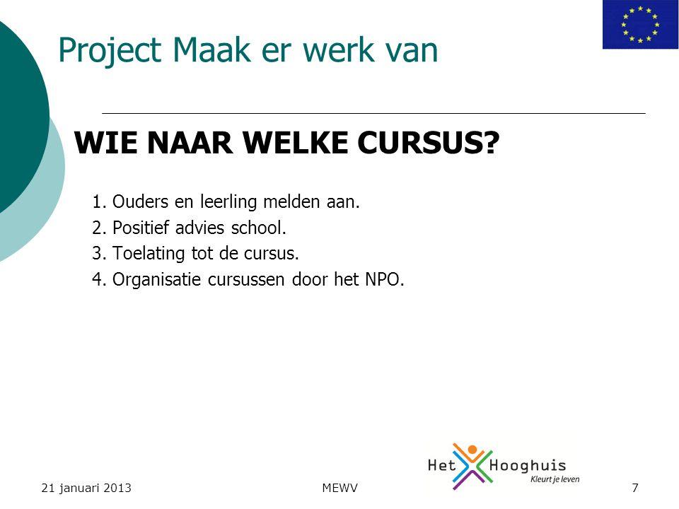 21 januari 2013MEWV7 Project Maak er werk van 1. Ouders en leerling melden aan.