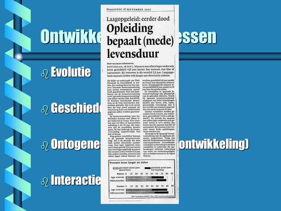 Ontwikkelingsprocessen b Evolutie b Geschiedenis b Ontogenese (individuele ontwikkeling) b Interactieprocessen