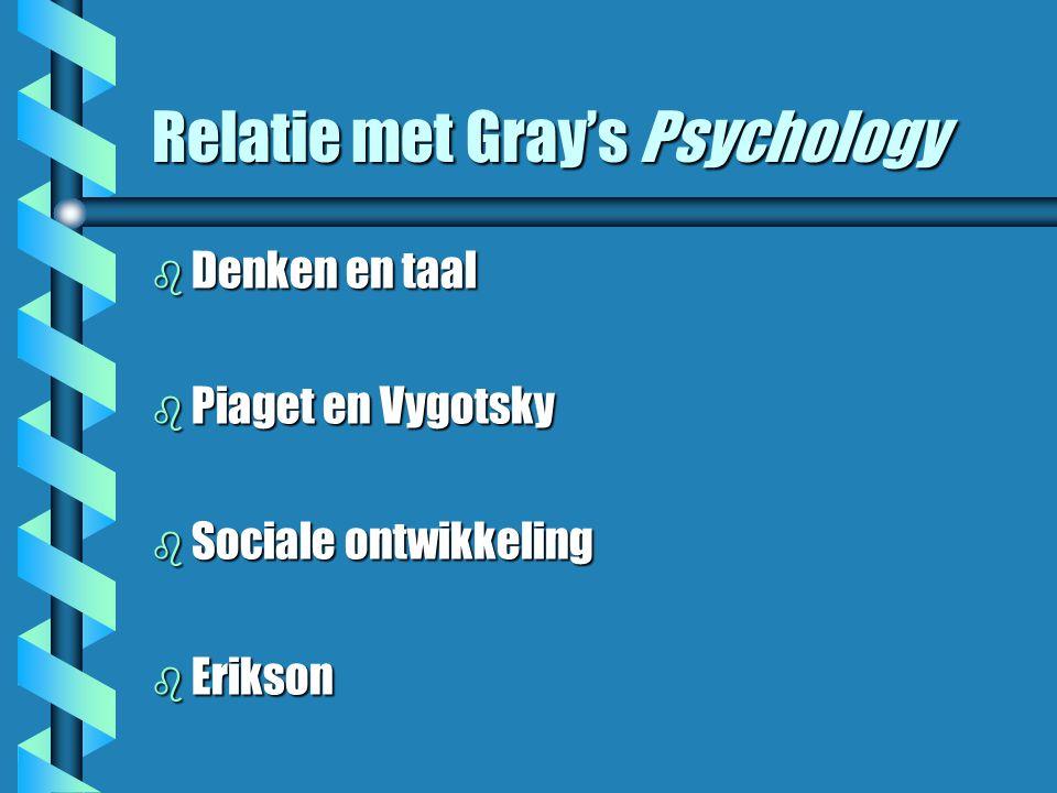 Relatie met Gray's Psychology b Denken en taal b Piaget en Vygotsky b Sociale ontwikkeling b Erikson
