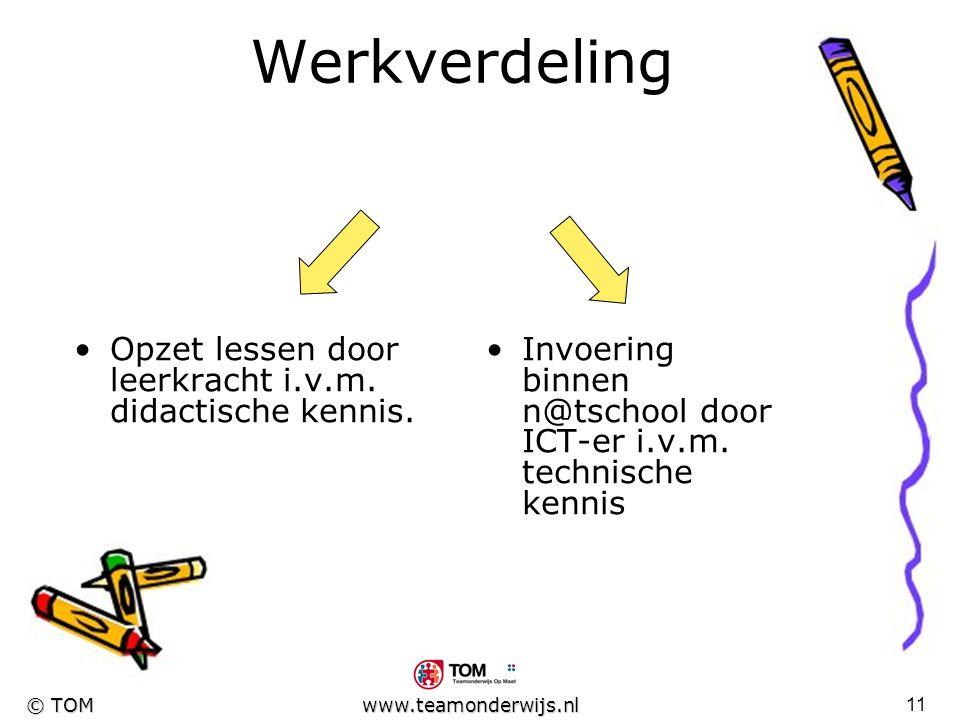 10 © TOM www.teamonderwijs.nl Nieuw plan Oorspronkelijk idee verlaten Aandacht verplaatst naar taalbeschouwing : Zinsontleding ( het werkwoordelijk- e