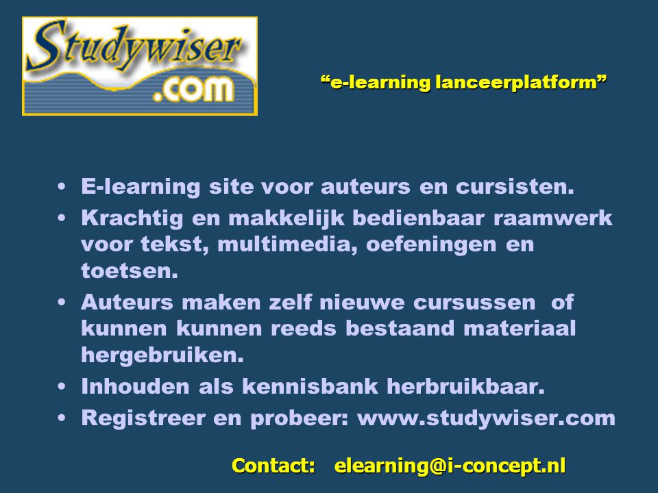 E-learning site voor auteurs en cursisten.