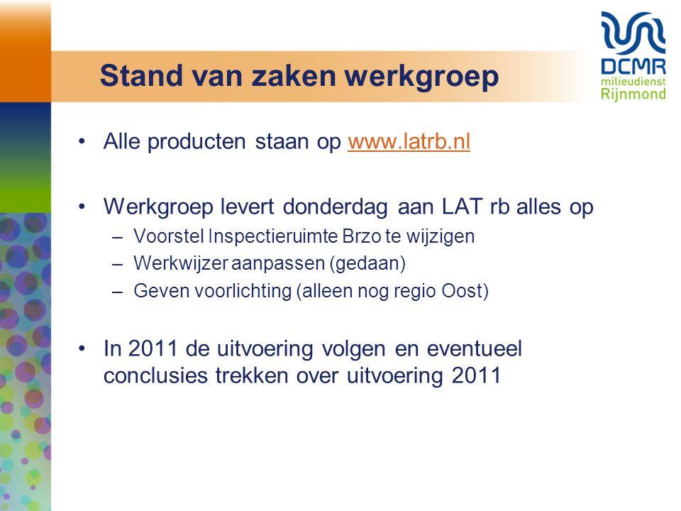 Stand van zaken werkgroep Alle producten staan op www.latrb.nlwww.latrb.nl Werkgroep levert donderdag aan LAT rb alles op –Voorstel Inspectieruimte Br