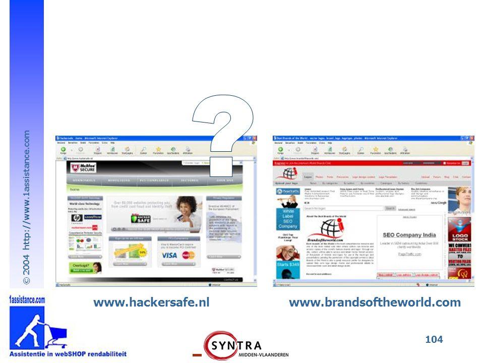 © 2004 http://www.1assistance.com 104 www.hackersafe.nlwww.brandsoftheworld.com