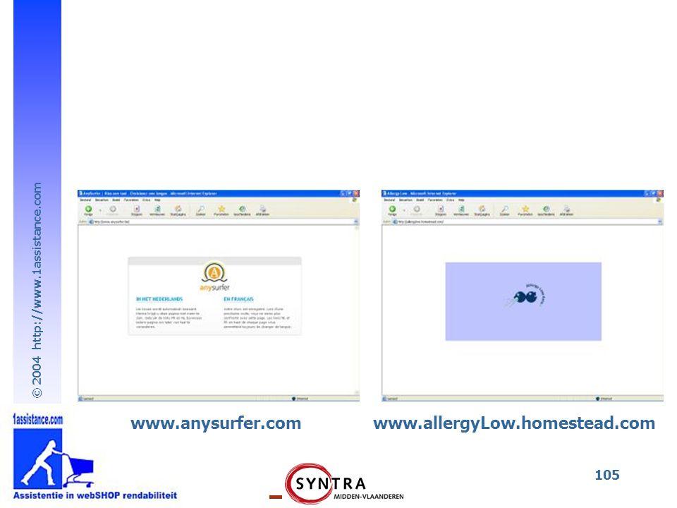 © 2004 http://www.1assistance.com 105 www.anysurfer.comwww.allergyLow.homestead.com