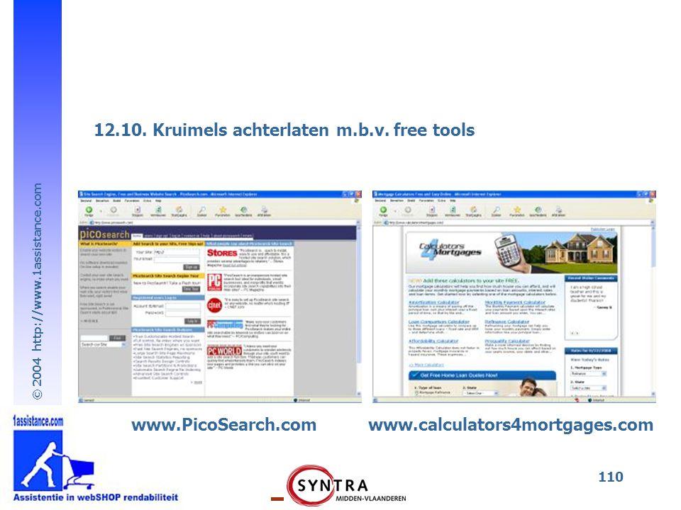 © 2004 http://www.1assistance.com 110 12.10. Kruimels achterlaten m.b.v. free tools www.calculators4mortgages.comwww.PicoSearch.com