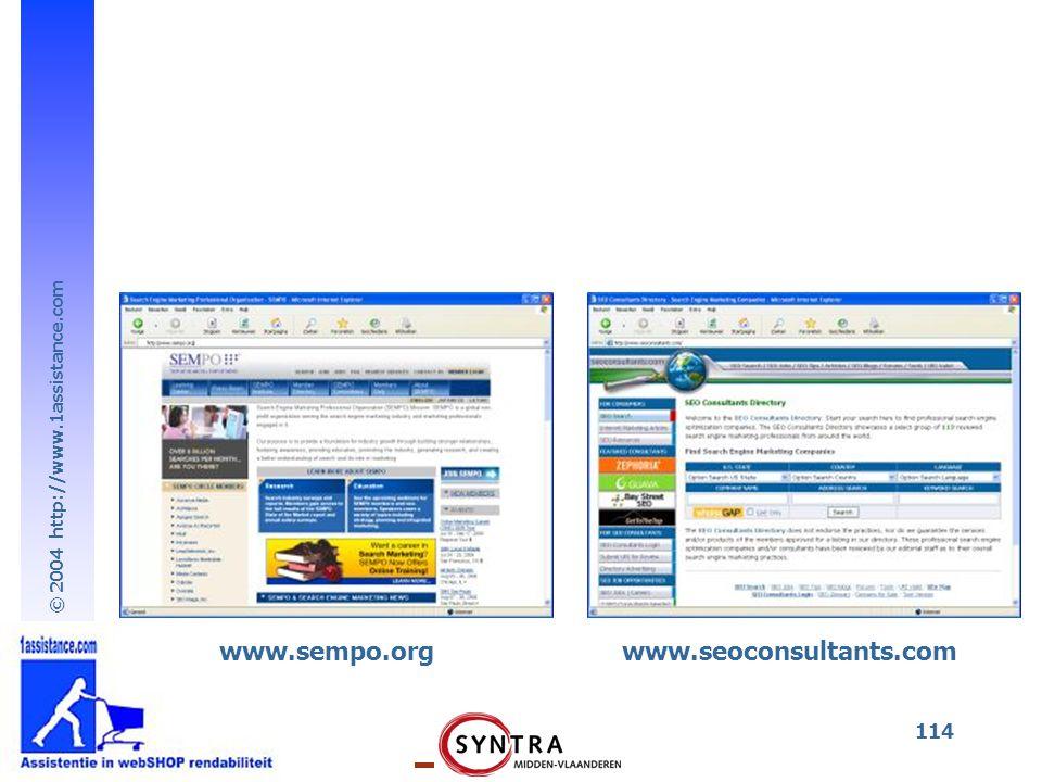 © 2004 http://www.1assistance.com 114 www.sempo.orgwww.seoconsultants.com