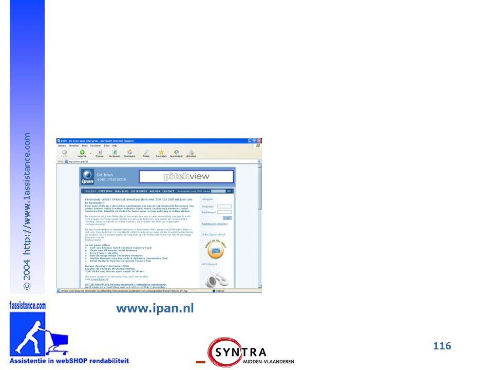 © 2004 http://www.1assistance.com 116 www.ipan.nl