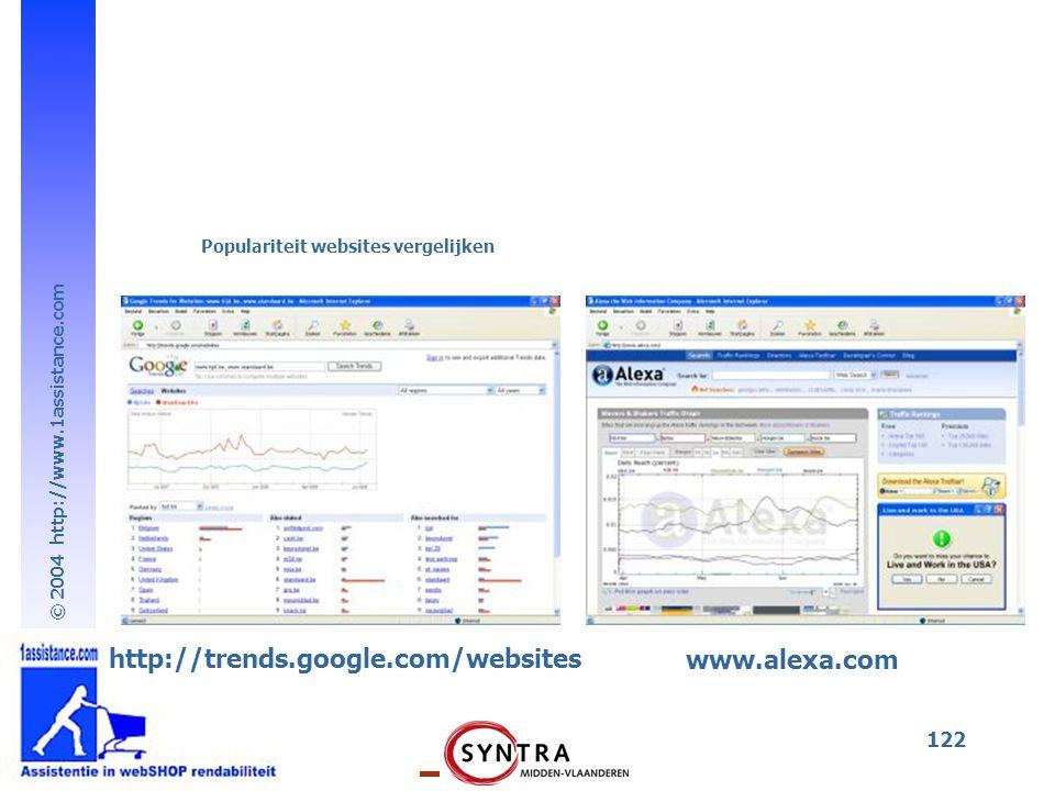 © 2004 http://www.1assistance.com 122 http://trends.google.com/websites Populariteit websites vergelijken www.alexa.com