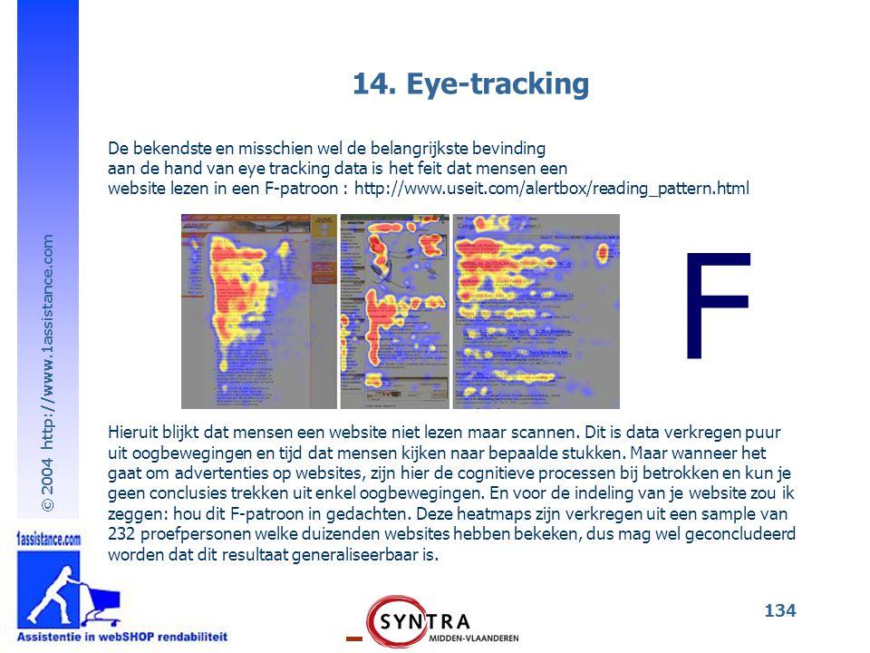 © 2004 http://www.1assistance.com 134 14. Eye-tracking De bekendste en misschien wel de belangrijkste bevinding aan de hand van eye tracking data is h