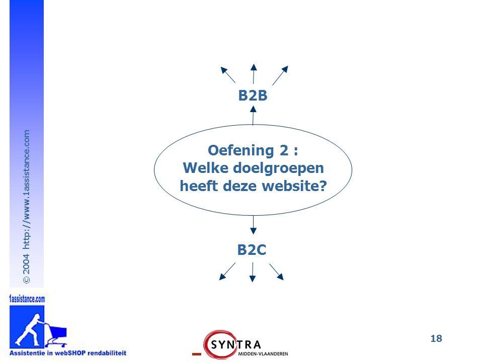 © 2004 http://www.1assistance.com 18 Oefening 2 : Welke doelgroepen heeft deze website? B2B B2C
