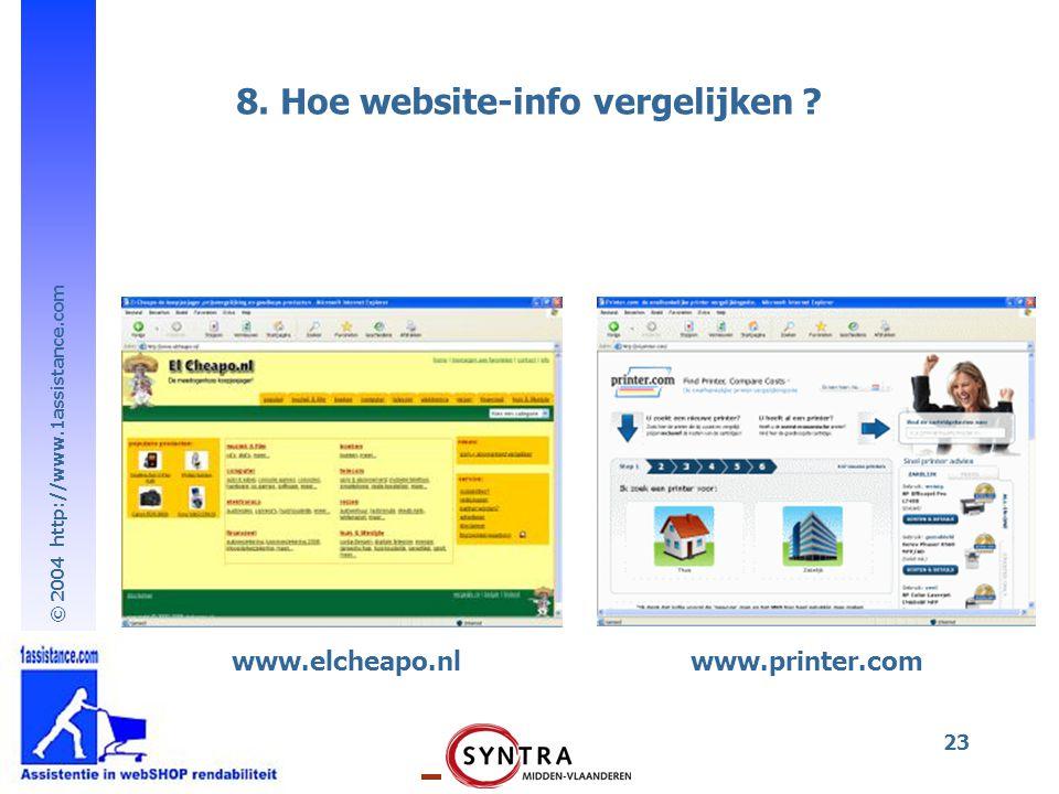 © 2004 http://www.1assistance.com 23 www.elcheapo.nl 8. Hoe website-info vergelijken ? www.printer.com