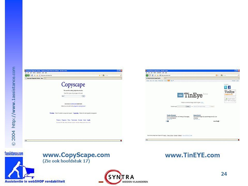 © 2004 http://www.1assistance.com 24 www.CopyScape.com (Zie ook hoofdstuk 17) www.TinEYE.com