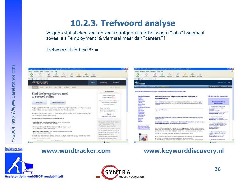 """© 2004 http://www.1assistance.com 36 Volgens statistieken zoeken zoekrobotgebruikers het woord """"jobs"""" tweemaal zoveel als """"employment"""" & viermaal meer"""