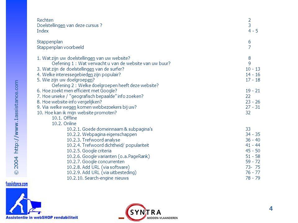 © 2004 http://www.1assistance.com 4 Rechten 2 Doelstellingen van deze cursus ? 3 Index 4 - 5 Stappenplan 6 Stappenplan voorbeeld 7 1. Wat zijn uw doel