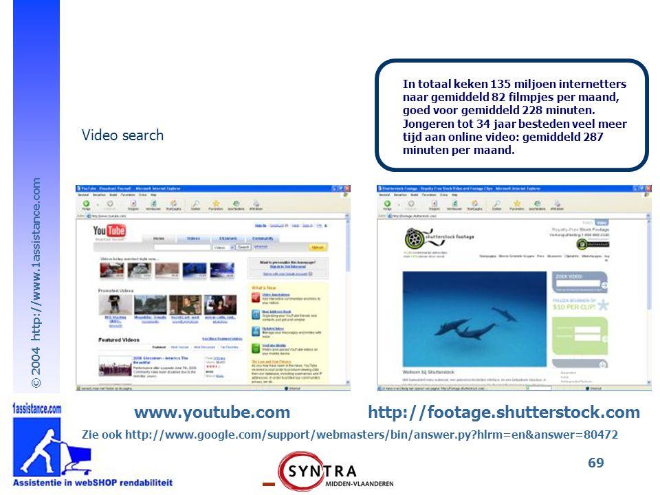 © 2004 http://www.1assistance.com 69 www.youtube.comhttp://footage.shutterstock.com Video search In totaal keken 135 miljoen internetters naar gemiddeld 82 filmpjes per maand, goed voor gemiddeld 228 minuten.
