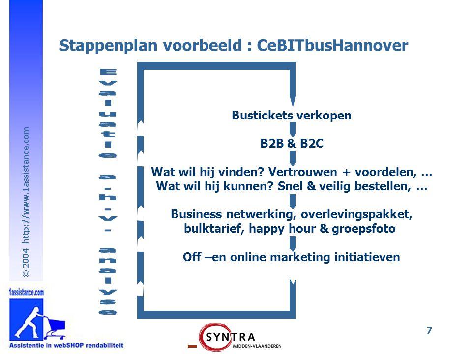 © 2004 http://www.1assistance.com 7 Bustickets verkopen B2B & B2C Wat wil hij vinden? Vertrouwen + voordelen, … Wat wil hij kunnen? Snel & veilig best
