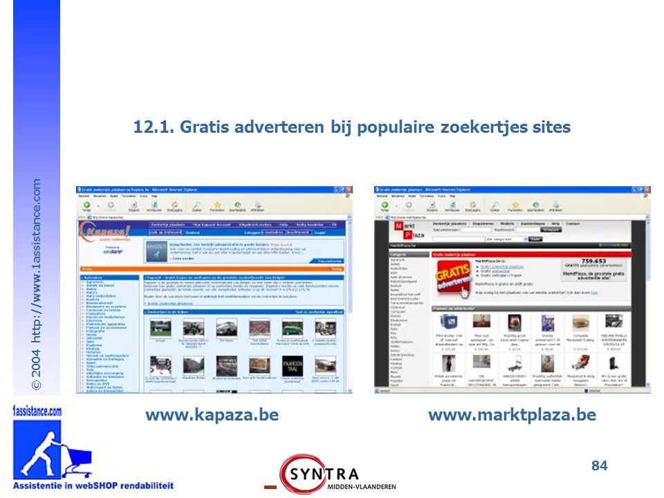 © 2004 http://www.1assistance.com 84 www.kapaza.bewww.marktplaza.be 12.1. Gratis adverteren bij populaire zoekertjes sites