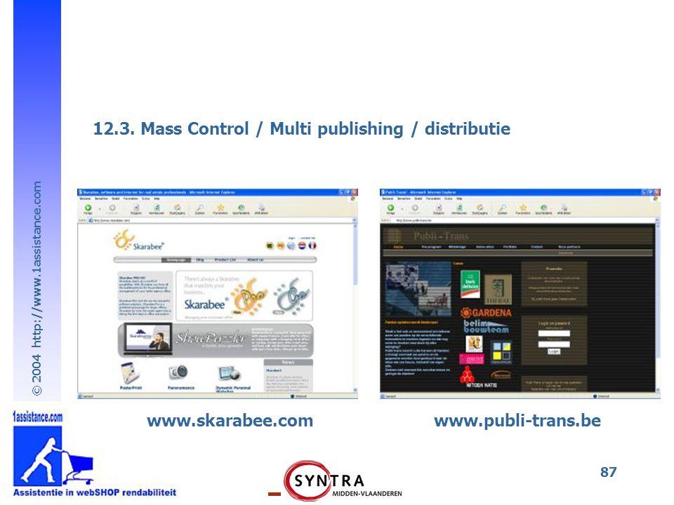 © 2004 http://www.1assistance.com 87 www.skarabee.comwww.publi-trans.be 12.3. Mass Control / Multi publishing / distributie