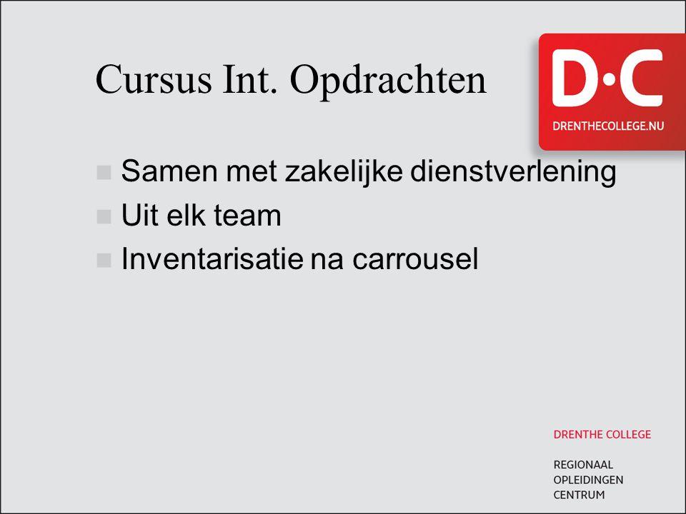 Cursus Int. Opdrachten Samen met zakelijke dienstverlening Uit elk team Inventarisatie na carrousel