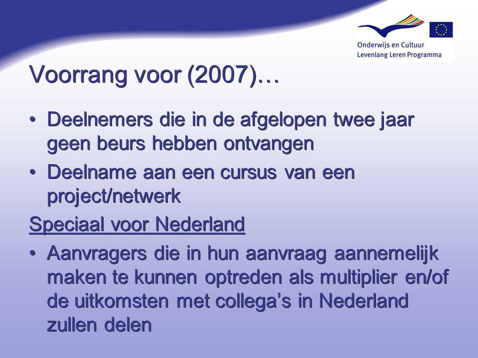 Voorrang voor (2007)… Deelnemers die in de afgelopen twee jaar geen beurs hebben ontvangen Deelname aan een cursus van een project/netwerk Speciaal vo