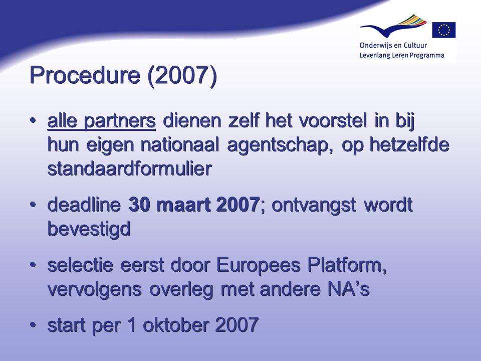 Procedure (2007) alle partners dienen zelf het voorstel in bij hun eigen nationaal agentschap, op hetzelfde standaardformulier deadline 30 maart 2007;