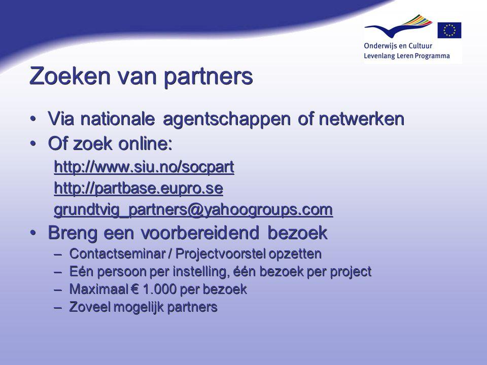 Zoeken van partners Via nationale agentschappen of netwerken Of zoek online: http://www.siu.no/socpart http://partbase.eupro.se grundtvig_partners@yah