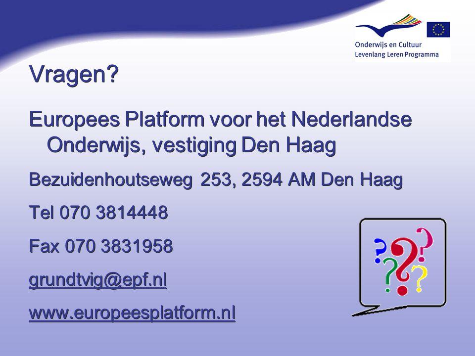 Vragen? Europees Platform voor het Nederlandse Onderwijs, vestiging Den Haag Bezuidenhoutseweg 253, 2594 AM Den Haag Tel 070 3814448 Fax 070 3831958 g