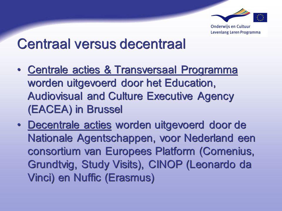 Centraal versus decentraal Centrale acties & Transversaal Programma worden uitgevoerd door het Education, Audiovisual and Culture Executive Agency (EA
