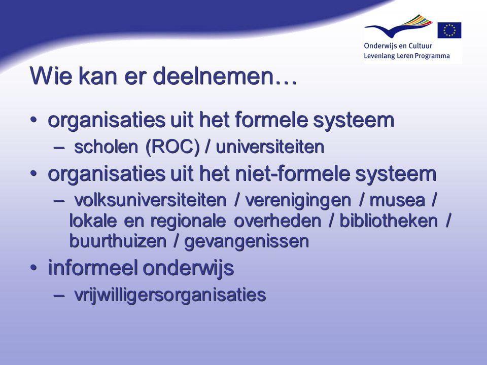 Wie kan er deelnemen… organisaties uit het formele systeem – scholen (ROC) / universiteiten organisaties uit het niet-formele systeem – volksuniversit