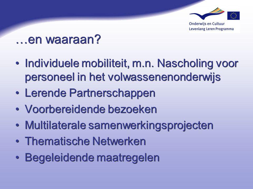 …en waaraan? Individuele mobiliteit, m.n. Nascholing voor personeel in het volwassenenonderwijs Lerende Partnerschappen Voorbereidende bezoeken Multil