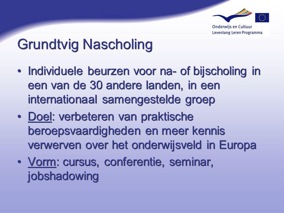 Voorrang voor (2007)… Geschikte verlengingen van de lopende partnerschappen Bij nieuwe projecten: –Organisaties die voor het eerst deelnemen aan een partnerschap –Bevordering van de interculturele dialoog (Europees Jaar 2008) –Duidelijk maatregelen voor actieve deelname van volwassen leerders deelname van volwassenen met een handicap of beperking deelname van 'kwetsbare deelnemers' gelijke kansen voor mannen en vrouwen Speciaal voor Nederland: –Voorkeursprovincies (Flevoland, Friesland, Limburg, Zeeland) –Scholing in (vreemde) talen, ict Geschikte verlengingen van de lopende partnerschappen Bij nieuwe projecten: –Organisaties die voor het eerst deelnemen aan een partnerschap –Bevordering van de interculturele dialoog (Europees Jaar 2008) –Duidelijk maatregelen voor actieve deelname van volwassen leerders deelname van volwassenen met een handicap of beperking deelname van 'kwetsbare deelnemers' gelijke kansen voor mannen en vrouwen Speciaal voor Nederland: –Voorkeursprovincies (Flevoland, Friesland, Limburg, Zeeland) –Scholing in (vreemde) talen, ict