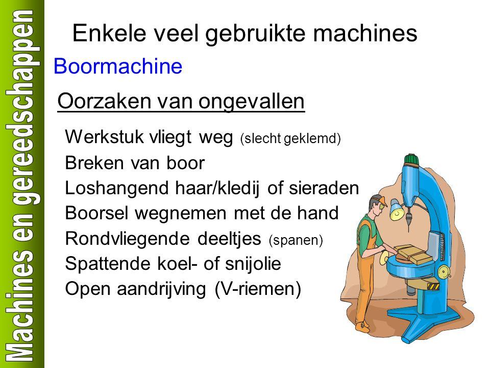 Enkele veel gebruikte machines Boormachine Oorzaken van ongevallen Werkstuk vliegt weg (slecht geklemd) Breken van boor Loshangend haar/kledij of sier