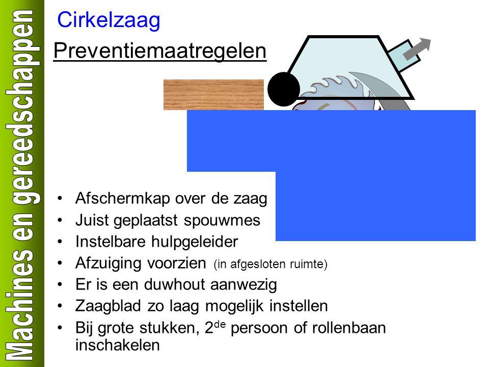 Cirkelzaag Preventiemaatregelen Afschermkap over de zaag Juist geplaatst spouwmes Instelbare hulpgeleider Afzuiging voorzien (in afgesloten ruimte) Er