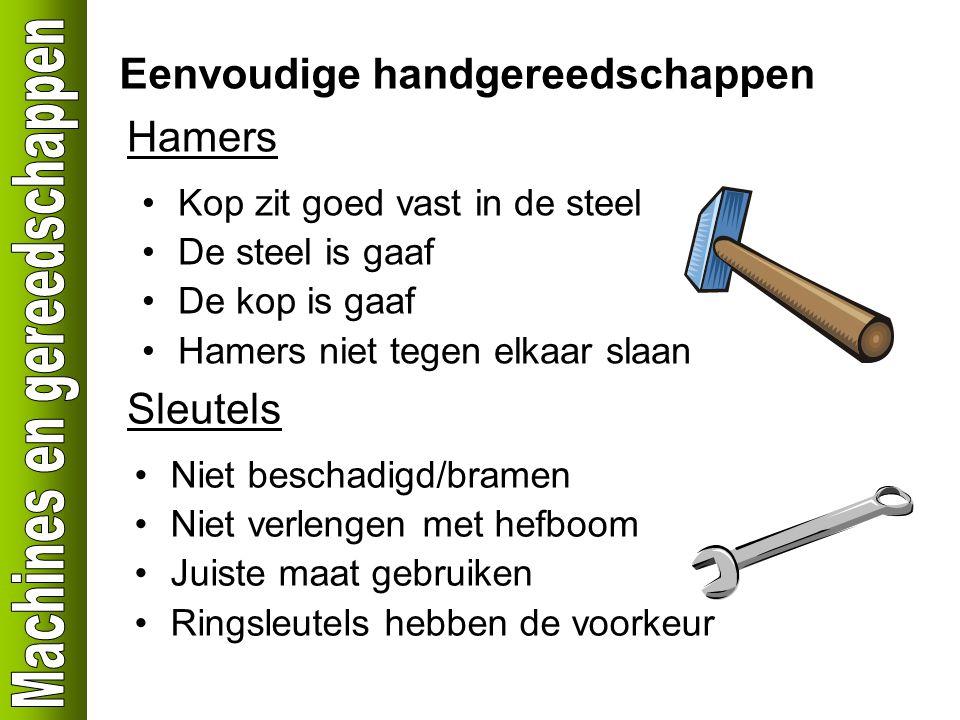 Eenvoudige handgereedschappen Hamers Kop zit goed vast in de steel De steel is gaaf De kop is gaaf Hamers niet tegen elkaar slaan Sleutels Niet bescha