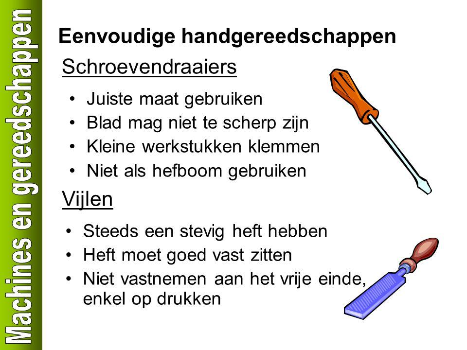 Eenvoudige handgereedschappen Schroevendraaiers Juiste maat gebruiken Blad mag niet te scherp zijn Kleine werkstukken klemmen Niet als hefboom gebruik