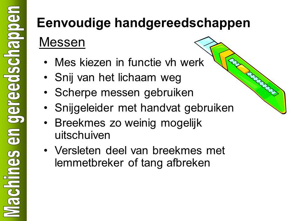 Eenvoudige handgereedschappen Messen Mes kiezen in functie vh werk Snij van het lichaam weg Scherpe messen gebruiken Snijgeleider met handvat gebruike