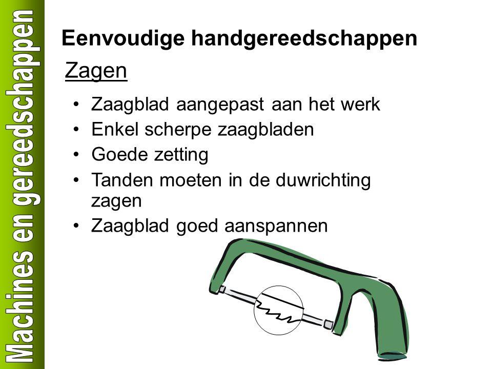 Eenvoudige handgereedschappen Zagen Zaagblad aangepast aan het werk Enkel scherpe zaagbladen Goede zetting Tanden moeten in de duwrichting zagen Zaagblad goed aanspannen