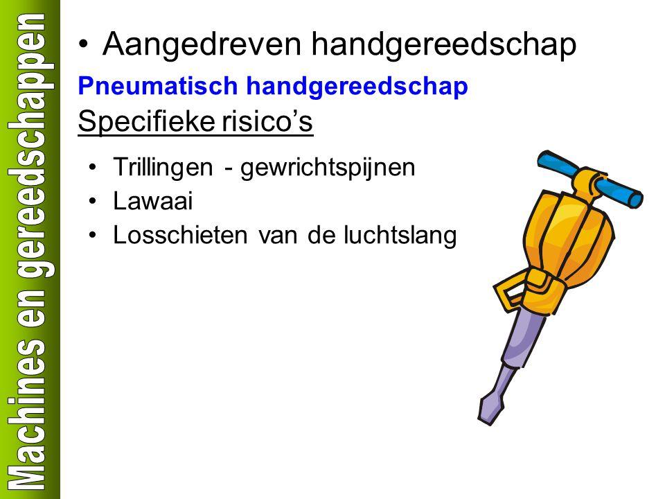 Aangedreven handgereedschap Pneumatisch handgereedschap Specifieke risico's Trillingen - gewrichtspijnen Lawaai Losschieten van de luchtslang