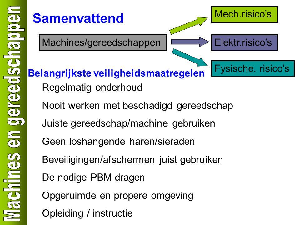 Samenvattend Machines/gereedschappen Mech.risico's Elektr.risico's Fysische. risico's Belangrijkste veiligheidsmaatregelen Regelmatig onderhoud Nooit