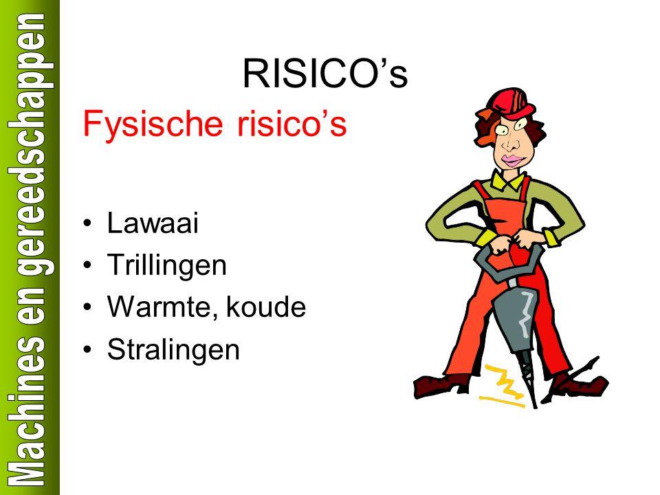 RISICO's Fysische risico's Lawaai Trillingen Warmte, koude Stralingen