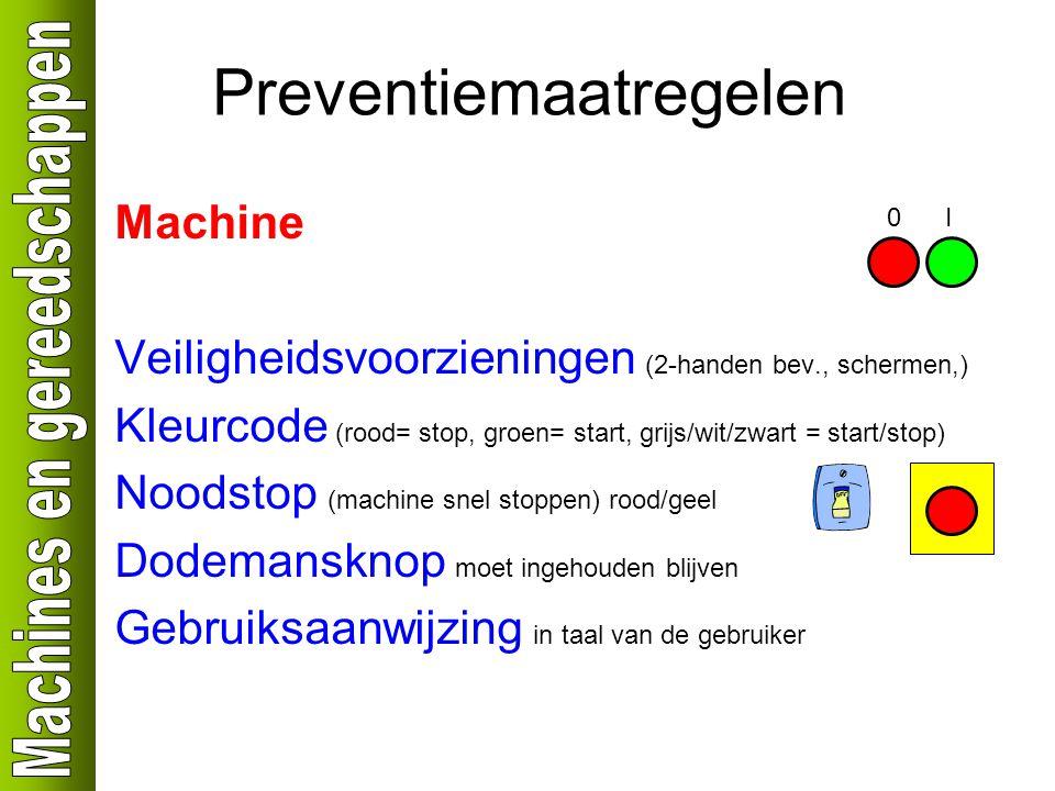 Preventiemaatregelen Machine Veiligheidsvoorzieningen (2-handen bev., schermen,) Kleurcode (rood= stop, groen= start, grijs/wit/zwart = start/stop) Noodstop (machine snel stoppen) rood/geel Dodemansknop moet ingehouden blijven Gebruiksaanwijzing in taal van de gebruiker 0I