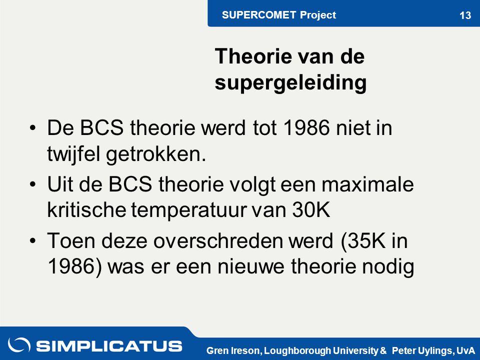 SUPERCOMET Project Gren Ireson, Loughborough University & Peter Uylings, UvA 13 De BCS theorie werd tot 1986 niet in twijfel getrokken.