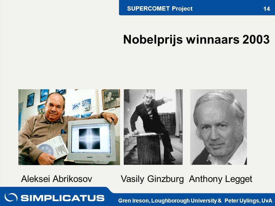 SUPERCOMET Project Gren Ireson, Loughborough University & Peter Uylings, UvA 14 Aleksei Abrikosov Vasily Ginzburg Anthony Legget Nobelprijs winnaars 2003