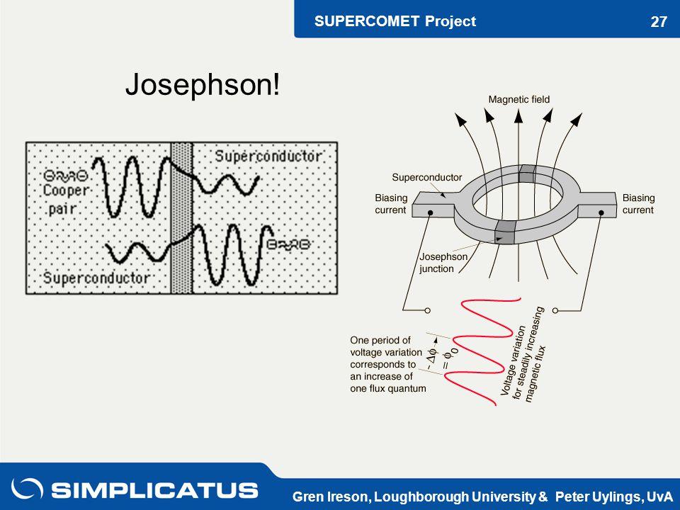 SUPERCOMET Project Gren Ireson, Loughborough University & Peter Uylings, UvA 27 Josephson!