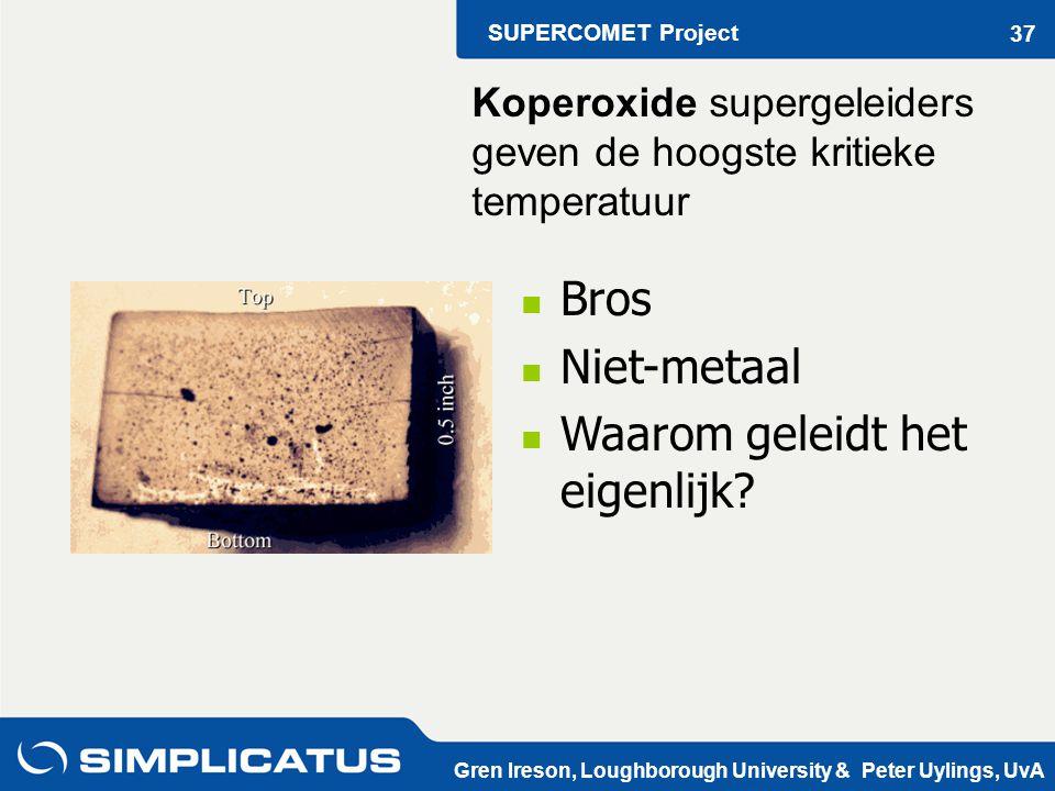 SUPERCOMET Project Gren Ireson, Loughborough University & Peter Uylings, UvA 37 Bros Niet-metaal Waarom geleidt het eigenlijk.