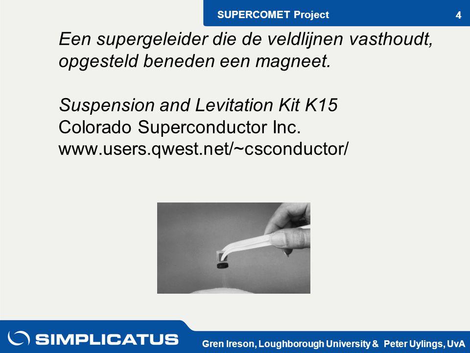 SUPERCOMET Project Gren Ireson, Loughborough University & Peter Uylings, UvA 4 Een supergeleider die de veldlijnen vasthoudt, opgesteld beneden een magneet.
