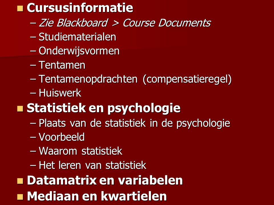 STUDIEMATERIALEN Boek Boek –Statistiek voor de psychologie, deel 1 –Statistiek voor de psychologie, deel 2 Rekenmachine Rekenmachine –Met Lineaire Regressie functies* –Grafische rekenmachines zijn niet toegestaan –*) Symbolen waar je op moet letten:  r   x en  y   xy